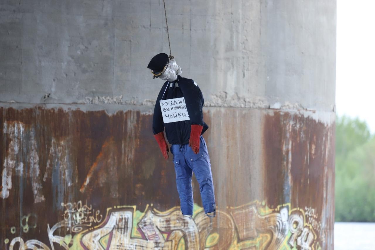Протестный перфоманс: в Архангельске повесили «чайку»