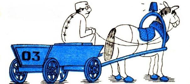 Вместо скорой помощи — телега с лошадью