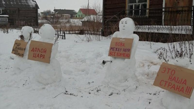 Архангельские полицейские разогнали митинг снеговиков в Зачачье