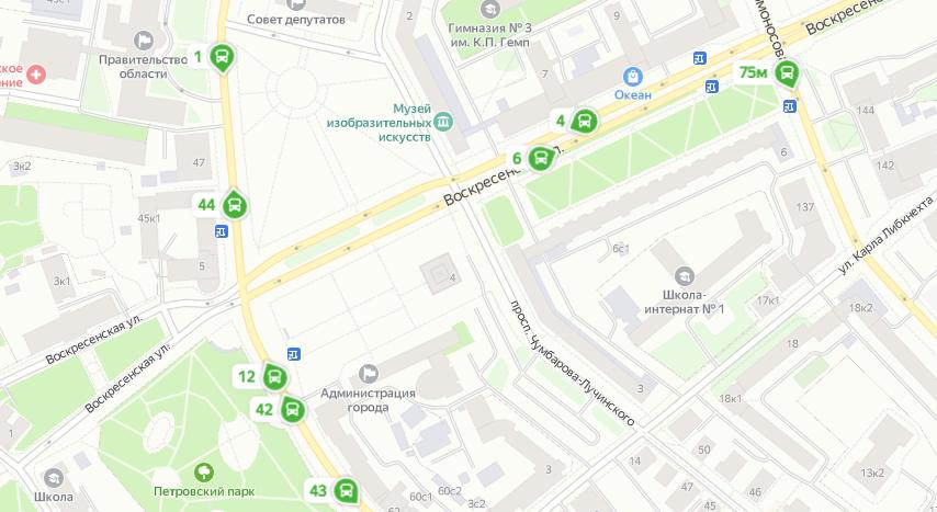 «Яндекс.Карты» начали показывать движение автобусов в Архангельске